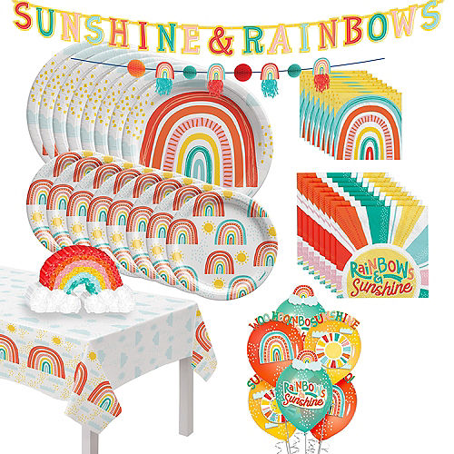 Retro Rainbow Tableware Kit for 16 Guests Image #1