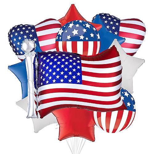 Patriotic American Flag Balloon Bouquet, 12pc Image #1