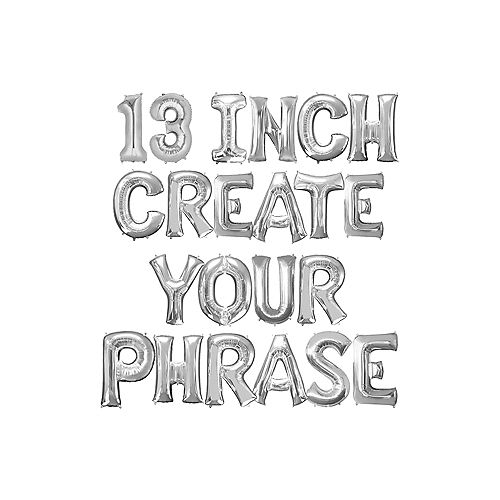 Silver Custom Air-Filled Foil Balloon Phrase Banner, 13in Letter & Number Balloons Image #1