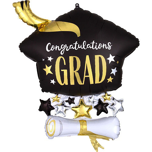 Congrats Grad Cap Balloon Bouquet & Autograph Dog Plush Graduation Gift Kit, 6pc Image #4