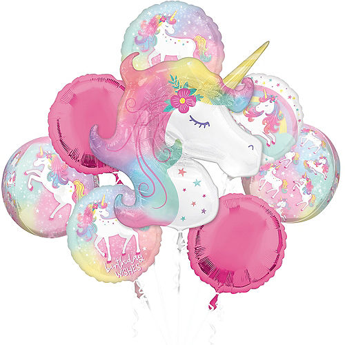 Enchanted Unicorn Foil & Plastic Balloon Bouquet, 8pc Image #1