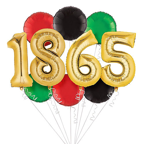Gold 1865 Juneteenth Balloon Bouquet, 34in Numbers, 10pc Image #1