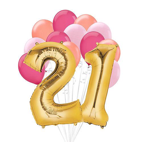 Premium Pink & Gold Blush 21 Balloon Bouquet, 14pc Image #1