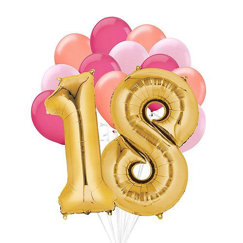 Premium Pink & Gold Blush 18 Balloon Bouquet, 14pc Image #1