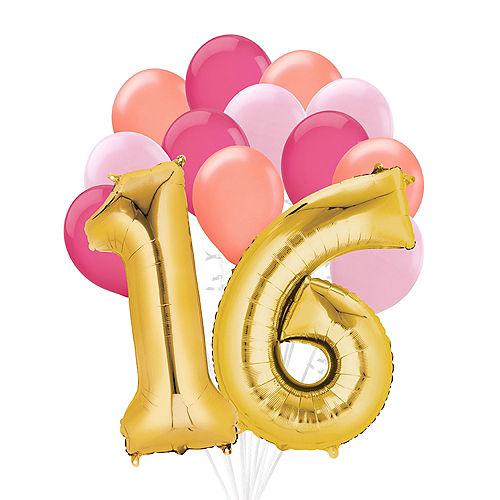 Premium Pink & Gold Blush 16 Balloon Bouquet, 14pc Image #1