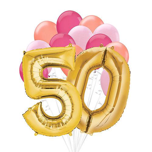 Premium Pink & Gold Blush 50 Balloon Bouquet, 14pc Image #1
