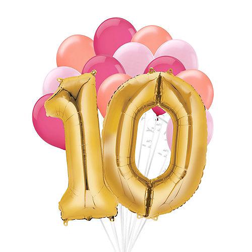 Premium Pink & Gold Blush 10 Balloon Bouquet, 14pc Image #1