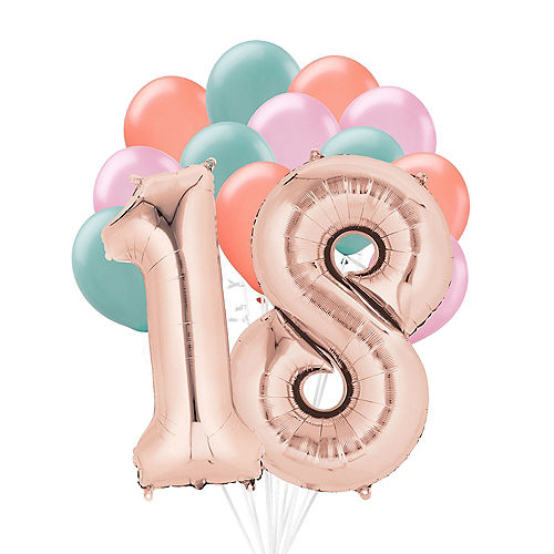 Premium Happy 18 Balloon Bouquet, 14pc Image #1