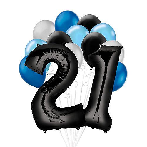 Premium Black & Blue Classic 21 Balloon Bouquet, 14pc Image #1