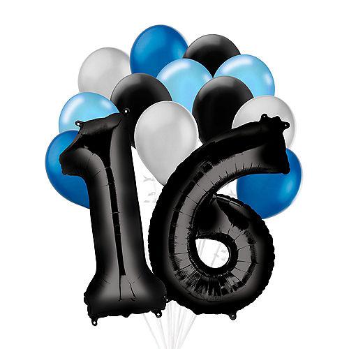 Premium Black & Blue Classic 16 Balloon Bouquet, 14pc Image #1