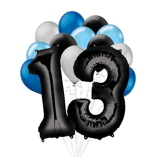 Premium Black & Blue Classic 13 Balloon Bouquet, 14pc Image #1