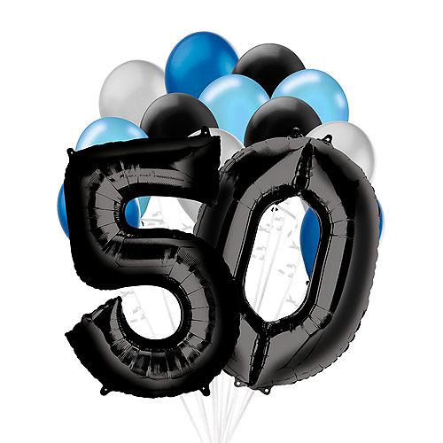 Premium Black & Blue Classic 50 Balloon Bouquet, 14pc Image #1