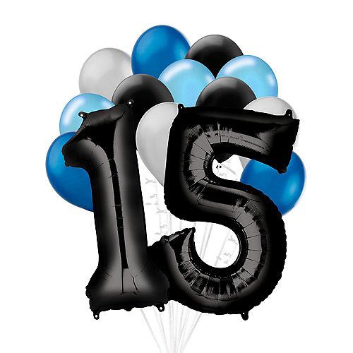 Premium Black & Blue Classic 15 Balloon Bouquet, 14pc Image #1