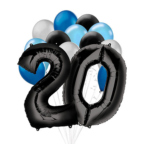 Premium Black & Blue Classic 20 Balloon Bouquet, 14pc Image #1