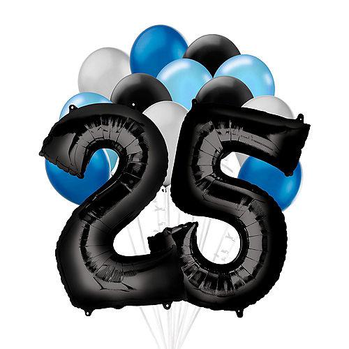 Premium Black & Blue Classic 25 Balloon Bouquet, 14pc Image #1