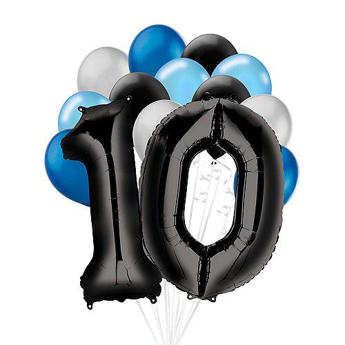 Premium Black & Blue Classic 10 Balloon Bouquet, 14pc Image #1