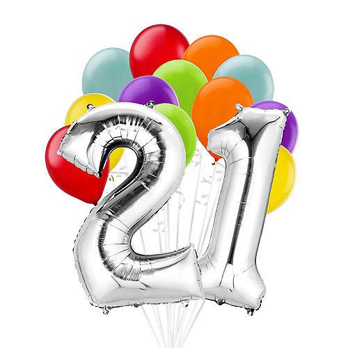 Premium Rainbow & Silver 21 Balloon Bouquet, 14pc Image #1