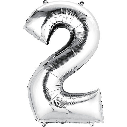 Premium Rainbow & Silver 21 Balloon Bouquet, 14pc Image #3