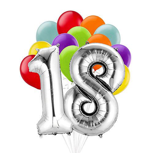Premium Rainbow & Silver 30 Balloon Bouquet, 14pc Image #1
