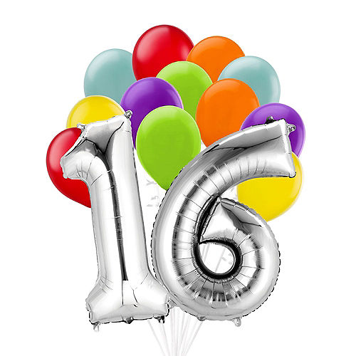 Premium Rainbow & Silver 16 Balloon Bouquet, 14pc Image #1