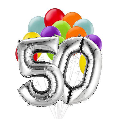 Premium Rainbow & Silver 50 Balloon Bouquet, 14pc Image #1