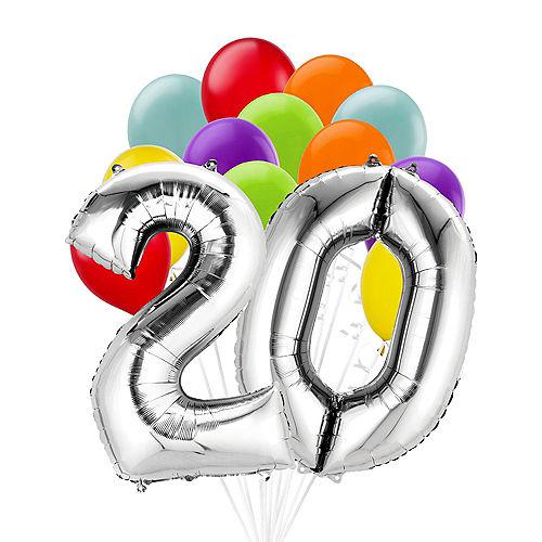Premium Rainbow & Silver 20 Balloon Bouquet, 14pc Image #1