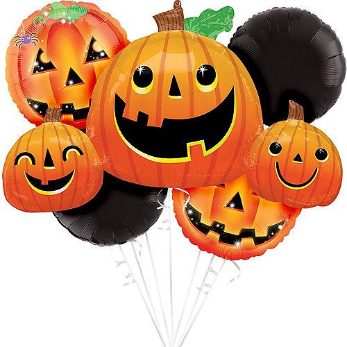 Friendly Jack-o'-Lanterns Halloween Balloon Bouquet, 5pc Image #1