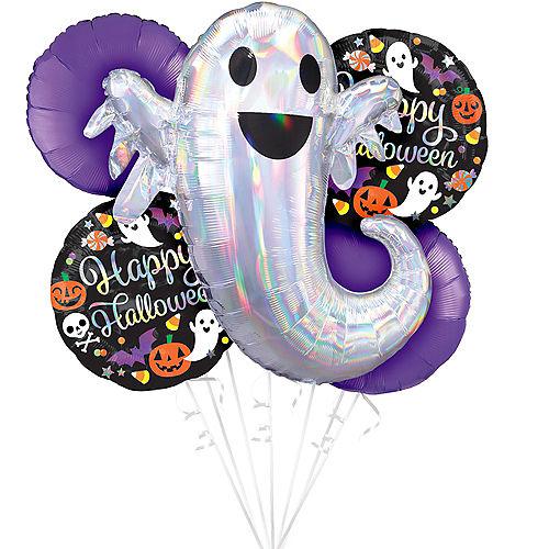 Ghostly Happy Halloween Balloon Bouquet, 5pc Image #1