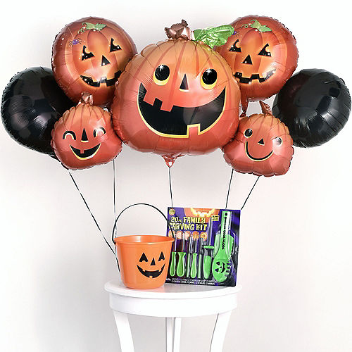 Halloween Pumpkin Carving Kit, 7pc, Includes Balloons, Bucket & Tools Image #1