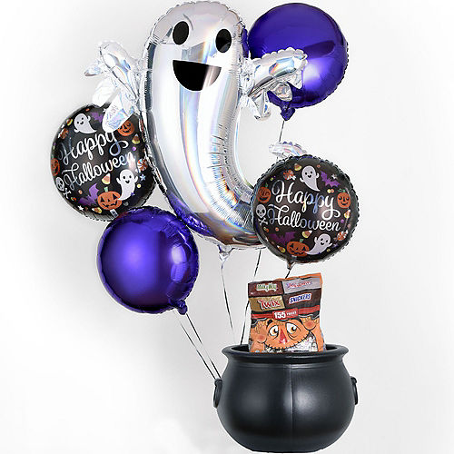 Trick-or-Treat Porch Decorating Kit, 7pc, Includes Balloons, Chocolate Candies & Cauldron Image #1
