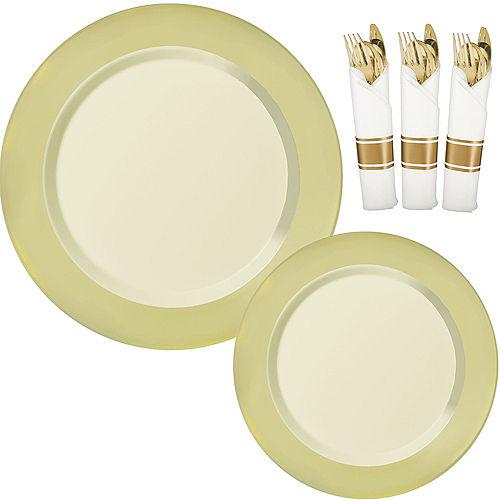 Vanilla Cream & Gold Border Premium Tableware Kit for 20 Guests Image #1