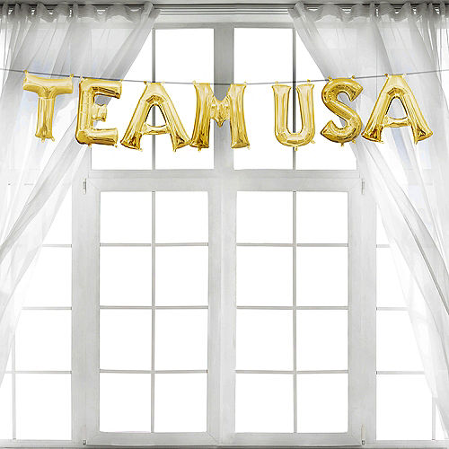DIY Air-Filled Gold Team USA Olympics Balloon Phrase, 13in Letters, 7pc Image #1