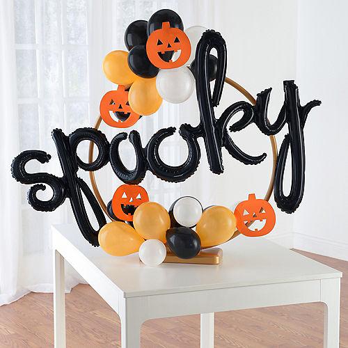 Air-Filled Orange, Black & White Spooky Halloween Tabletop or Hangable Balloon Hoop Kit Image #1