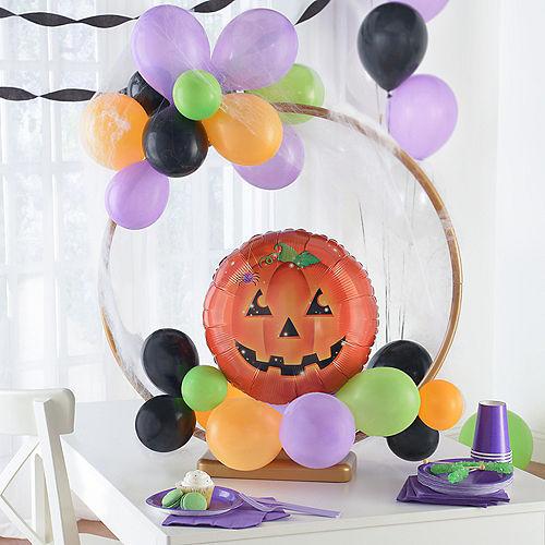 Air-Filled Orange, Black, Green & Purple Pumpkin Halloween Tabletop or Hangable Balloon Hoop Kit Image #1