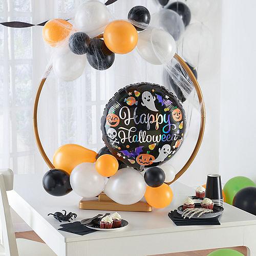 Air-Filled Orange, Black, & White Happy Halloween Tabletop or Hangable Balloon Hoop Kit Image #1