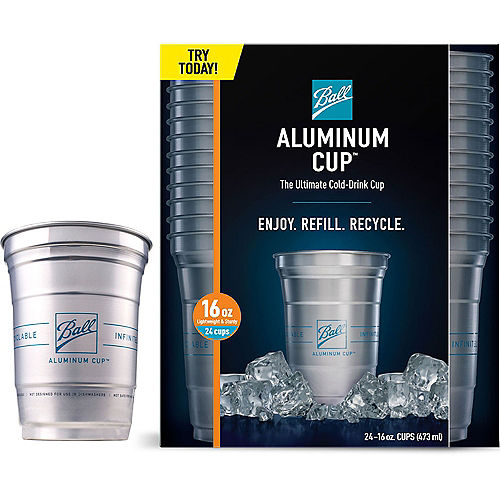 Ball Aluminum Cup™, 16oz, 24ct - The Ultimate 100% Recyclable Cold-Drink Cup Image #1