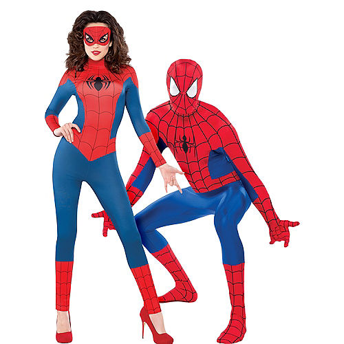 Adult Sexy Spider-Girl Catsuit & Spider-Man Partysuit Couples Costumes Image #1