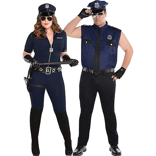 Adult Sexy Cop Couples Costumes Plus Size Image #1