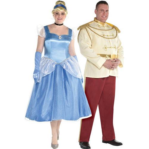 Adult Cinderella & Prince Charming Couples Costumes Plus Size - Cinderella Image #1