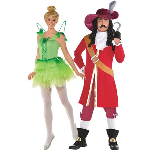 Adult Tinker Bell & Captain Hook Couples Costumes - Peter Pan Image #1