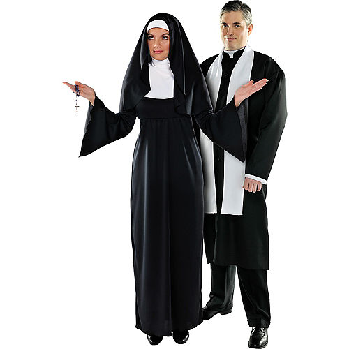 Plus Size Holy Sister & Father Priest Couples Costumes Image #1