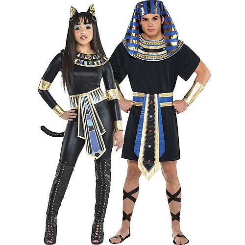Adult Egyptian Bastet Goddess & Egyptian Pharaoh Couples Costumes Image #1