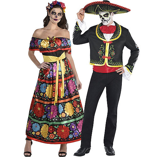 Adult Lacy & Traditional Day of the Dead Couples Costumes Image #2