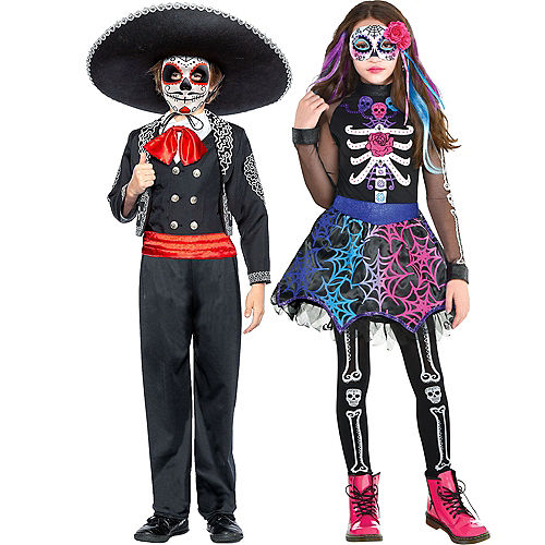Adult Lacy & Traditional Day of the Dead Couples Costumes Image #3