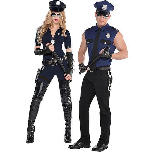 Adult Stop Traffic Sexy Cop & Under Arrest Cop Couples Costumes Image #1