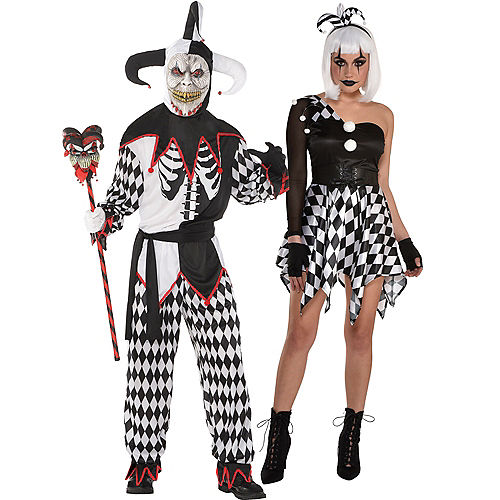 Adult Bad Jester & Sinister Jester Couples Costumes Image #1