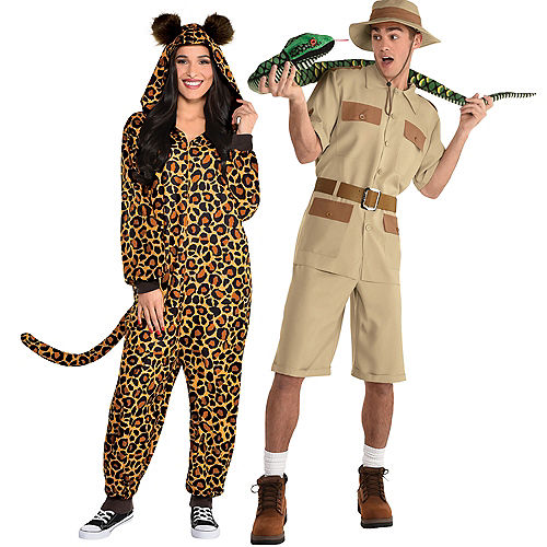 Adult Safari Guide & Zipster Leopard Print One-Piece Couples Costumes Image #1