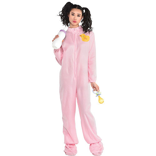 Adult Pink Footie Pajamas Costume Image #1