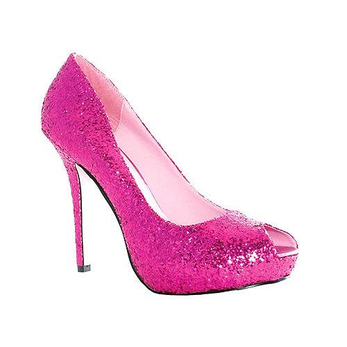 Fuchsia Glitter Open Toe Shoes Image #1