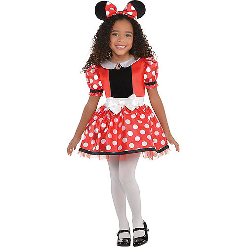 Girls Red Minnie Mouse Costume Image #1